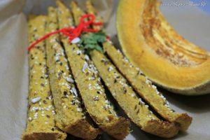 Sărăţele cu dovleac copt şi seminţe/sărăţele cu cartof dulce