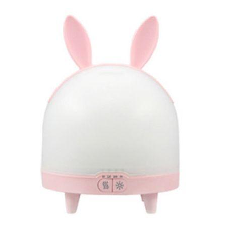 Difuzor si umidificator aromaterapie KristaSS, cu temporizator, reglare volum abur, cu lumina LED, Rabbit Roz.